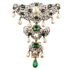 Antique Enamelled Emerald Pearl Gold Corsage Brooch | See more rare vintage Brooches at https://www.1stdibs.com/jewelry/brooches/brooches