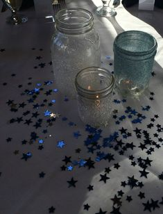 Sparkle Mason Jar Centerpieces for Starry Night or Night under the Stars Theme