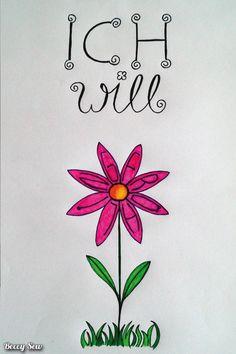 Handletter Frühlingsblume zum Nachmachen - mit versuchsweiser Erklärung :)