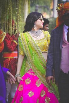 Looking for pink and yellow lehenga? Browse of latest bridal photos, lehenga & jewelry designs, decor ideas, etc. on WedMeGood Gallery. Pakistani Dresses, Indian Dresses, Indian Outfits, Mehendi, Bridal Lehenga Choli, Lehanga Saree, Ghagra Choli, Lehenga Blouse, Indian Lehenga