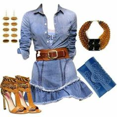 Vestido vaquero + complementos marrón