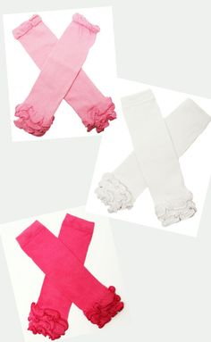 Solid LegWarmers Baby Girls Little Girls Leg Warmers with Ruffles Pink Hot Pink White by BabyGirlTutus on Etsy