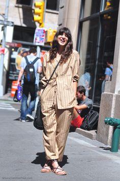 pyjama vintage stripes striped new york street style, isabel marant sandals