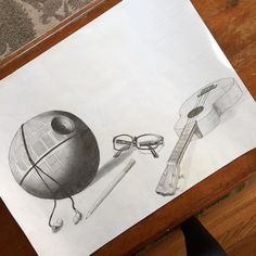 I finally got my project back! This was just graphite on paper and overall Im really happy with it. Im gonna post some more pictures up close of each object. What do you guys think?   #art #pencil #pencils #graphite #drawing #sketching #deathstar #ukulele #glasses #earbuds via Earbuds on Instagram - Best Sound Quality Audiophile Headphones and High-Fidelity Premium Earbuds for Hi-Fi Music Lovers by AudiophileCans