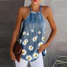 New Women Summer Camis Daisy Print Elegant Halter Tops Sleeveless Lin – bodyconest Printed Denim, Printed Tank Tops, Umgestaltete Shirts, Long Shirts, Denim Flowers, Denim Crafts, Denim Blouse, Denim Top, Denim Fashion