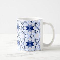 Moroccan Blue/White tile  325 ml  Classic Mug - white gifts elegant diy gift ideas