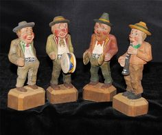 Set of 4 German Bavarian Hand Carved Wooden Figures - Gasthaus Band #Germany