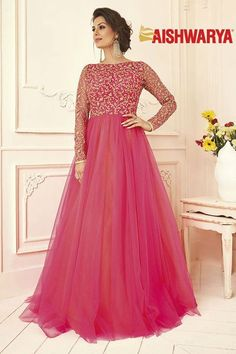 Show details for Enchanting pink designer gown with zari Gown Party Wear, Party Wear Indian Dresses, Indian Fashion Dresses, Indian Gowns Dresses, Dress Indian Style, Indian Designer Outfits, Designer Gowns, Designer Wear, Indian Outfits