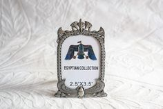 Small Pewter Tone Egyptian Theme Frame, Vintage Picture Frame, 3.5 x 2.5