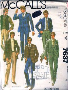 McCalls 7637 1980s Mens Designer Three Piece Suit Sport Coat Pants and Vest Business and Casual adult vintage sewing pattern Basile by mbchills