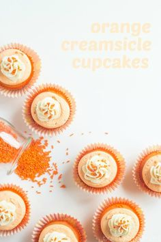 These orange creamsicle cupcakes are such a fun summertime treat! That same citrus-y vanilla flavor you loved as a kid, in cupcake form. Summer Cupcakes, White Cupcakes, Fun Cupcakes, Cupcake Cakes, Cup Cakes, Cupcake Recipes, Dessert Recipes, Cupcake Ideas, Dessert Ideas