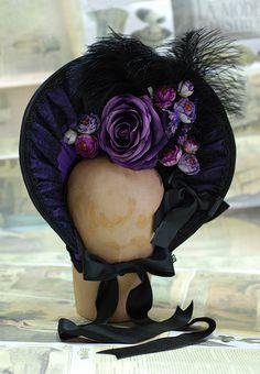 Gothic lolita violet bonnet by MissDangerShop on Etsy