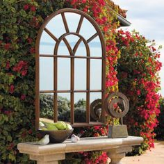 44 Inspiring Outdoor Garden Wall Mirrors Ideas Inspiring outdoor garden wall mirrors ideas 2744 Inspiring Outdoor Garden Wall Mirrors IdeasAll the ideas below are simply exquisite, but th Outdoor Console Table, Outdoor Mirror, Outdoor Walls, Outdoor Living, Outdoor Rooms, Garden Mirrors, Garden Windows, Bohemian Patio, Raised Patio