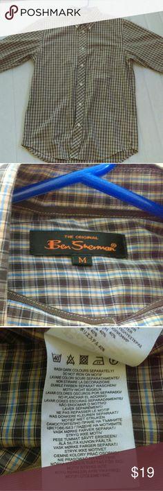 Ben Sherman long sleeved shirt Plaid brown, blue, and yellow Ben Sherman button down casual shirt in perfect condition! Ben Sherman Shirts Casual Button Down Shirts