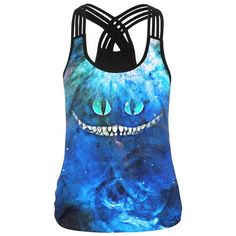 Cheshire Cat Print Tank Tops Women 2017 Racerback Fitness Quick-drying Sporting Shirts Summer Sexy Halter Top Joggers Feminina