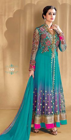 Bela in Peacock Green heavy embroidery Net Anarkali Suit with chiffon dupatta along with full sleeves and floral yoke.