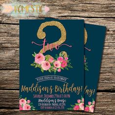 Navy Blue & Pink Floral Second Birthday Invitation | Girls Second Birthday Invitation | Floral Theme Birthday | Two Year Old Birthday Invite   Hey friend! Thanks a bunch fo... #flowers #invitations
