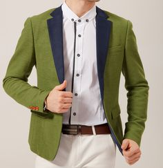 Charming #Green #Blazer With Dark Blue #Collar #mens More blazers http://www.58soufun.com/mens-style/fashionsection/menstrends/blazers-c-998349843.html