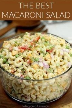 This Easy Macaroni Salad recipe is the perfect side dish to bring to Summer BBQ's, parties and more! Easy macaroni salad is loaded with veggies, cheese and more. You will love the creamy dressing in Macaroni salad recipe. Try this Pasta salad with mayo. Everyone will love this simple Elbow macaroni salad! #eatingonadime #macaronisalad #partyfood #potluckfood #bbqfood Potluck Recipes, Healthy Salad Recipes, Cooking Recipes, Soup Recipes, Vegetarian Cooking, Easy Macaroni Salad, Sweet Macaroni Salad Recipe, Mexican Macaroni Salad, Creamy Pasta Salads