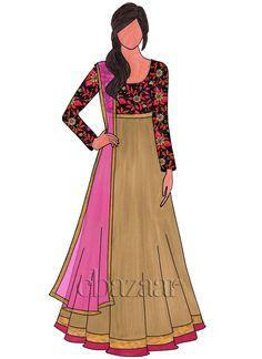 Dark Gold Art Dupion Silk Embroidered Abaya Suit