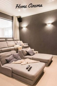 home theater rooms small Home Cinema Designs Ideas Home Theater Room Design, Movie Theater Rooms, Home Cinema Room, Theatre Rooms, Basement Movie Room, Cinema Room Small, Home Theater Basement, Home Theatre, Theater Room Decor