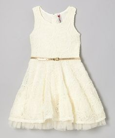 Take a look at this Ivory Rosette Dress - Girls by Beautees on #zulily today!