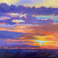 ":""Last Rays,"" 12 x 12, acrylic on canvas, $180.  The lights of Albuquerque come on as the sun sets on another spectacular day."