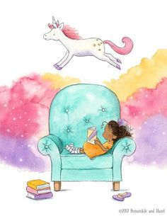 Little Girl Reading and Dreaming about a Unicorn Reading Fair, Girl Reading Book, Brunette Girl, Cute Illustration, Cute Drawings, Cartoon Drawings, Childrens Books, Fine Art Prints, Painting Prints