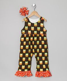Look at this #zulilyfind! Brown & Yellow Owl Overalls & Bow Clip - Infant, Toddler & Girls by Molly Pop Inc. #zulilyfinds