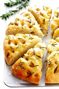 This delicious Rosemary Focaccia Bread is super easy to make, and topped with lots of fresh rosemary, olive oil and sea salt. This delicious Rosemary Focaccia Bread is super easy to make, and topped with lots of fresh rosemary, olive oil and sea salt. Easy Bread Recipes, Baking Recipes, Bread Machine Recipes, Yummy Recipes, Egg Recipes, Pizza Recipes, Paleo Recipes, Free Recipes, Appetizers