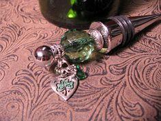Lucky Irish Themed Green Beaded Wine Bottle by JenniferSumner