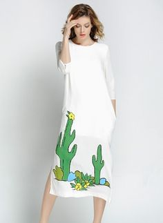 Silk Others Half Sleeve Mid-Calf Casual Dresses