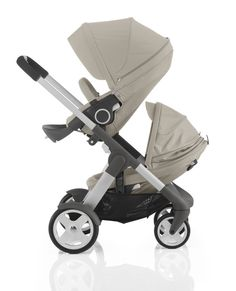 Stokke Crusi stroller has a sibling seat solution, making it an ideal for a young baby + tired toddler