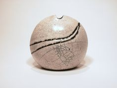 Small Stoneware Vessel. White Crackle Glaze & Raku Fired. Designed & Made by Toby Rivett. © 2012