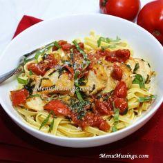 Reflexiones de un menú americano mamá moderna: Tomate y Albahaca Pollo