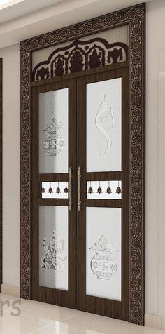 Pooja Room Door Design, Front Hair Styles, Puja Room, Room Doors, Interior Designing, Glass Etching, Glass Panels, Glass Door, Rooms