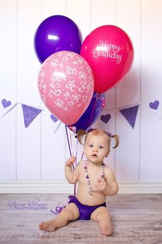 First Birthday photo- cute with Kooper's cloth diaper