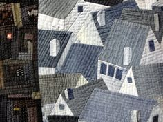 denim house quilt. This nontraditional house quilt has all the houses overlapping each other, the way they would look in a real neighborhood