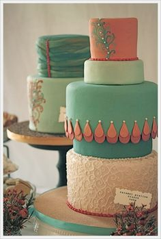 Vintage cakes in salmon, turquoise with hand-painted detail