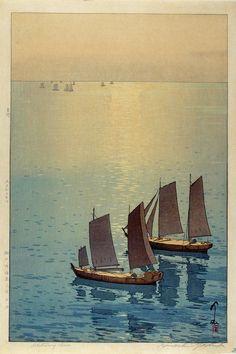 Hiroshi Yoshida, Glittering Sea, 1926, woodblock print.