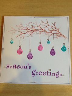 Hanging baubles Stamp Card, Card Io, Card Tags, All Things Christmas, Christmas Ideas, Christmas Crafts, Cardio Cards, Art Cards, Xmas Cards
