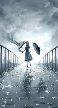 Girl in rain drawing- Digital art- Anime Manga Art, Manga Anime, Anime Eyes, Anime Kunst, Wow Art, Studio Ghibli, Anime Love, Anime Couples, Amazing Art