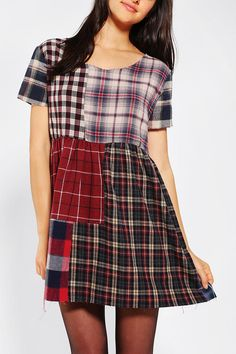 Urban outfitters Urban Renewal Patchwork Flannel Dress in Multicolor (ASSORTED)