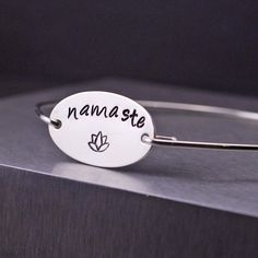 Namaste Bangle Bracelet ~ Sterling Silver Yoga Lotus Jewelry by georgiedesigns
