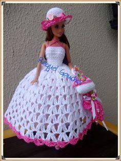 #Cléa5 #crochet #Vestido #Muñeca #Dress #Hat #Chapéu #Sombrero #Bolsa #Barbie #Doll #RaquelGaucha
