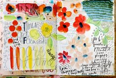 Pages from Pam Garrison's art journal--- she definitely inspires me... @creativebug #creativebug #CBsketchbooking