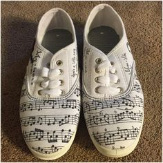 Music shoes; hand-drawn with a sharpie. Size 10 tennis shoes.