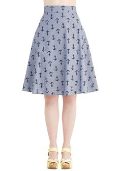 Sassy to Shining Sea Skirt. Boast your love of the coastline in this adorable nautical-inspired A-line skirt! #blue #modcloth