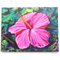 Pink Hibiscus Original Acrylic Painting from Kauai Hawaii ($250) ❤ liked on Polyvore featuring home, home decor, wall art, flower paintings, pink flamingo painting, unframed wall art, pink flower wall art and photo wall art