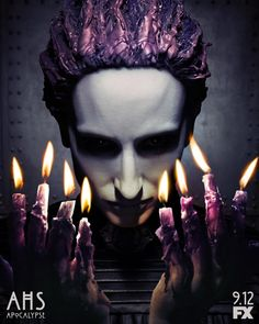 See the light on a new American Horror Story: Apocalypse poster above and teaser video below. The anthology series' eighth season - a crossover between Season 1 (Murder House) and Season 3 (Coven) -. Ahs, Horror Movie Posters, Horror Movies, Tim Burton, Apocalypse Cast, Teaser, American Horror Story Movie, Thriller, Anthology Series
